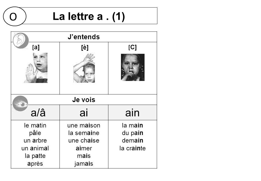 O La lettre a . (1) a/â ai ain J'entends Je vois [a] [è] [C] le matin